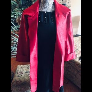 NWT Chico's Red Satin Shantung 3/4 Length Jacket